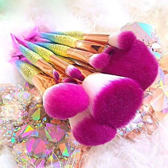 Pink Mermaid Makeup Brushes