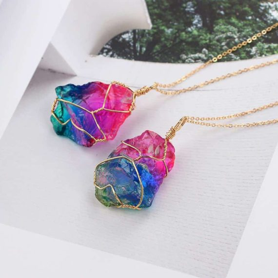 Rainbow Natural Stone Pendant
