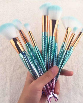 Blue Mermaid Makeup Brushes