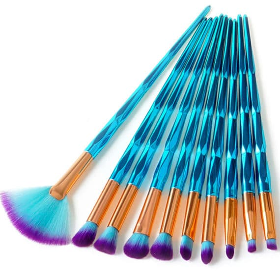Blue Mermaid Makeup Brushes
