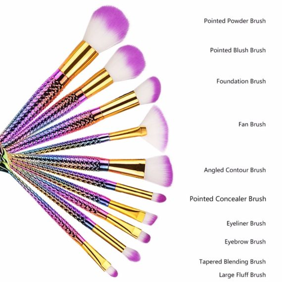 Pink Mermaid Makeup Brushes
