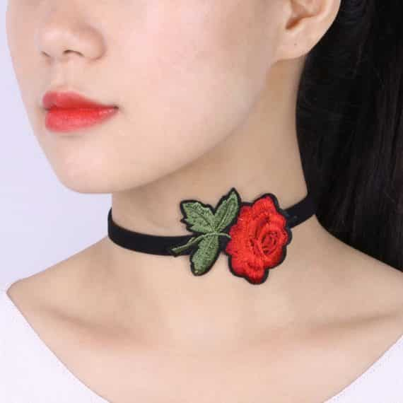 Trendy Floral Embroidery Ribbon Chocker Necklace