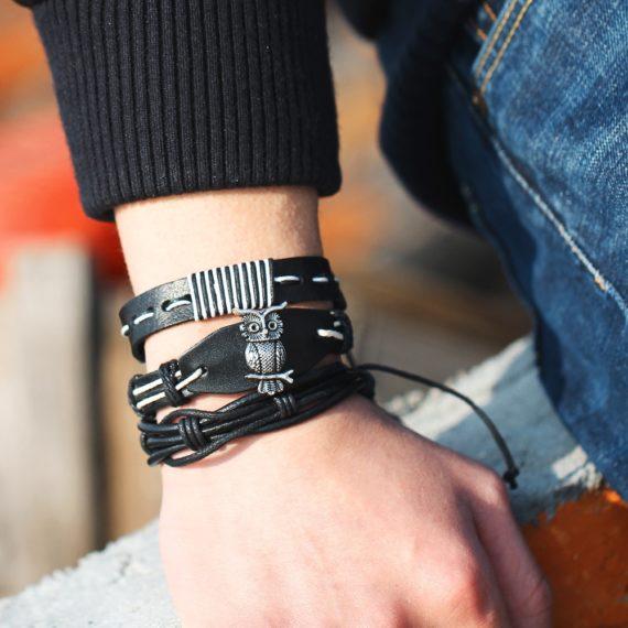 IF ME Vintage Leaf Feather Multilayer Leather Bracelet
