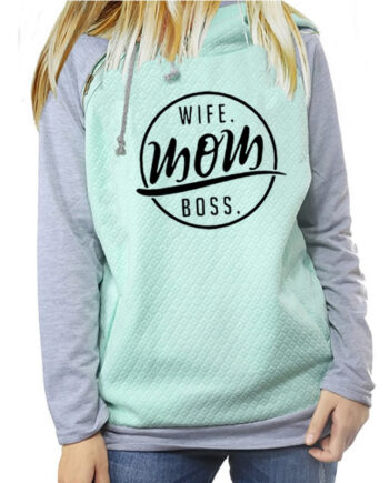 Wife mom boss Fashion Funny Letters Print Hoodies