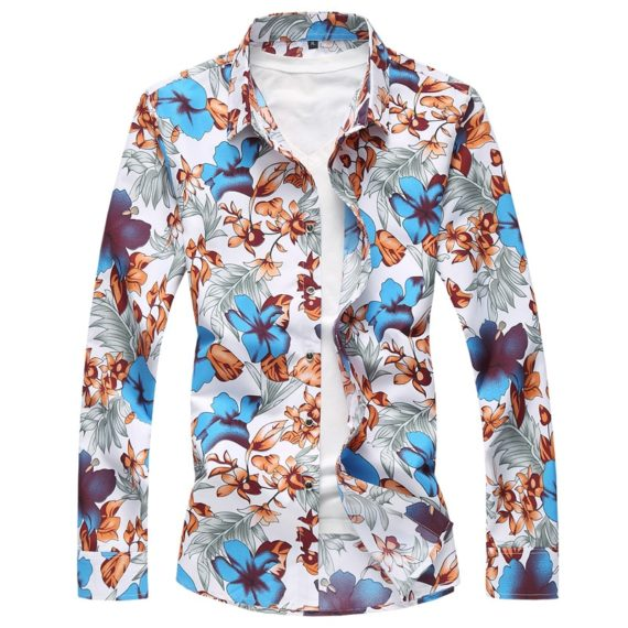 Autumn Casual Long Sleeve Floral Hawaiian Shirt