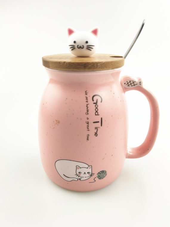 Sesame Cat Heat-Resistant Cup with Lid