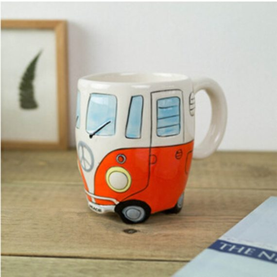 Creative Hand Painting Double Bus Ceramic Mugs