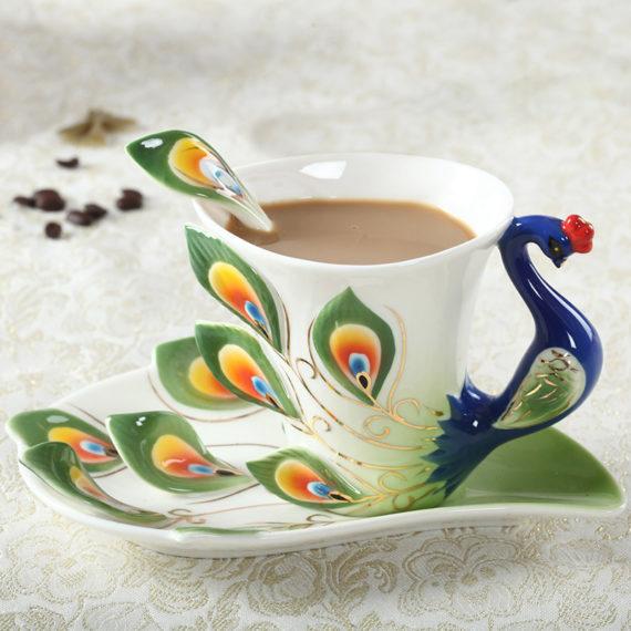 Peacock Coffee Ceramic Mugs