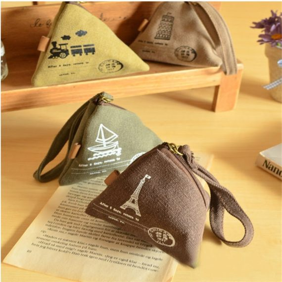 Unique Canvas Triangle Coin Purse