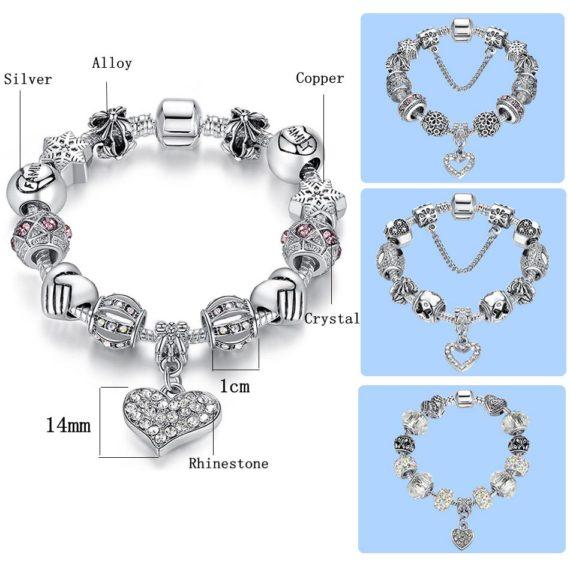 Crystal Charm Bracelet- Various Designs