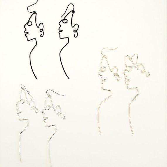 Face Outline Long Earrings