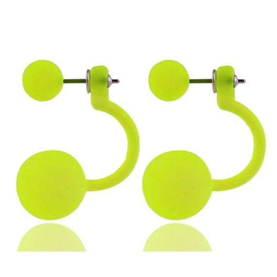Fluorescent Colors Double Ball Earrings