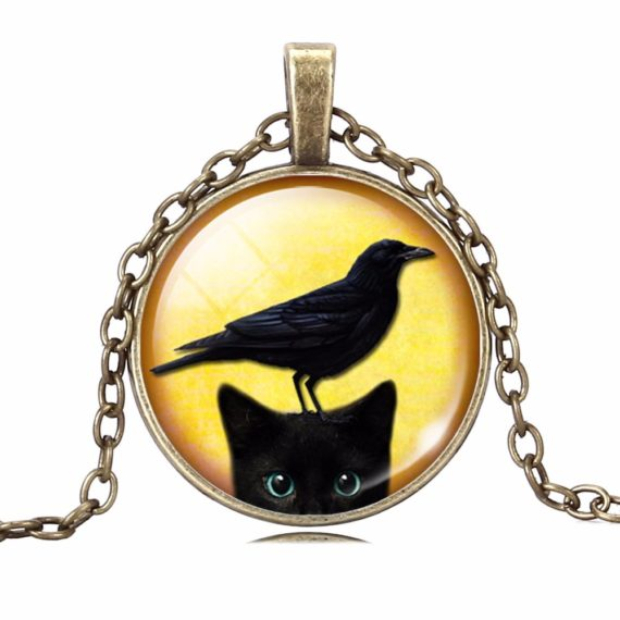 Black Cat Picture Necklace