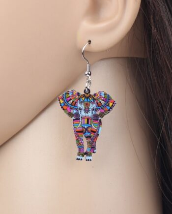 Acrylic Elephant Shape Drop Dangle