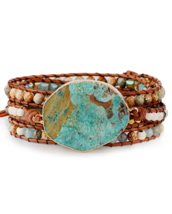 Natural Stones Leather Bracelet