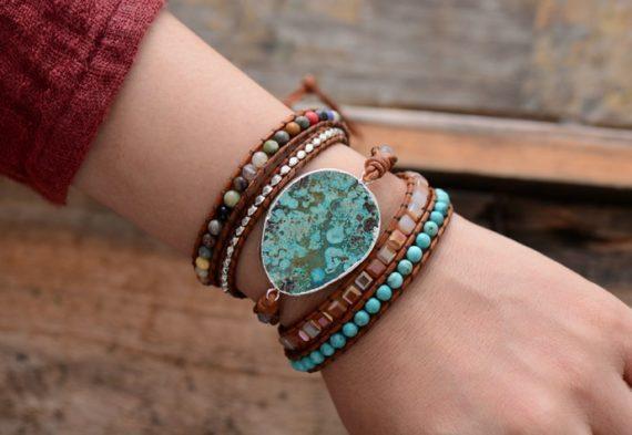 Natural Stones Leather Bracelet
