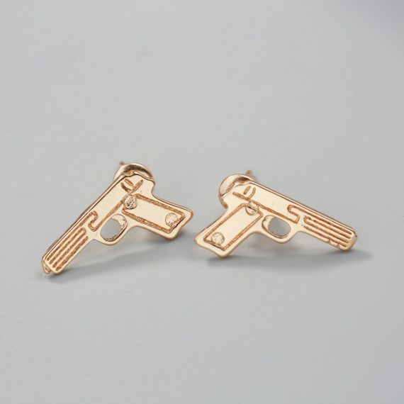 Pistol Shape Stud Earrings
