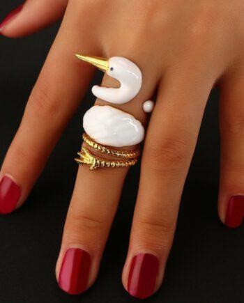 Docona New Design White Swan Animal Ring Sets