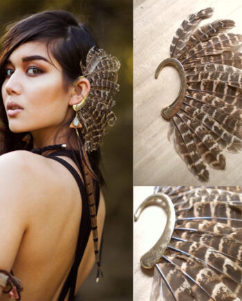 African New Unique Big Feather Ear Cuff